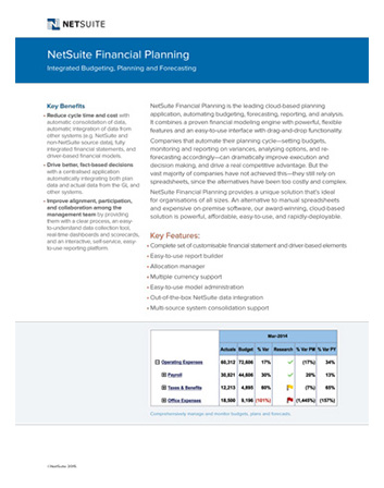Financial Planning Datasheet