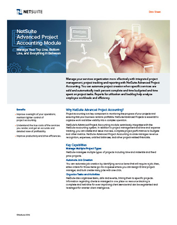 Advanced Project Accounting Module Datasheet