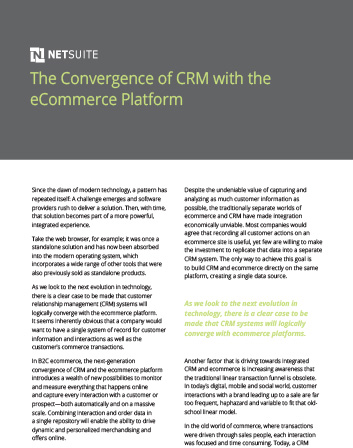 Convergence of CRM+ with the eCommerce Platform