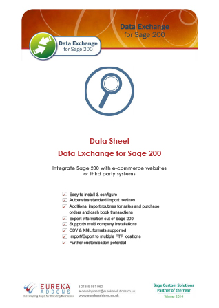 Data Exchange for Sage 200 Data Sheet