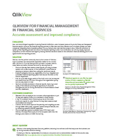 QlikView for Financial Management in Financial Services