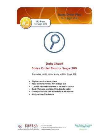 Sales Order Plus Data Sheet
