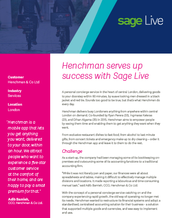 Sage Live Case Study – Henchman