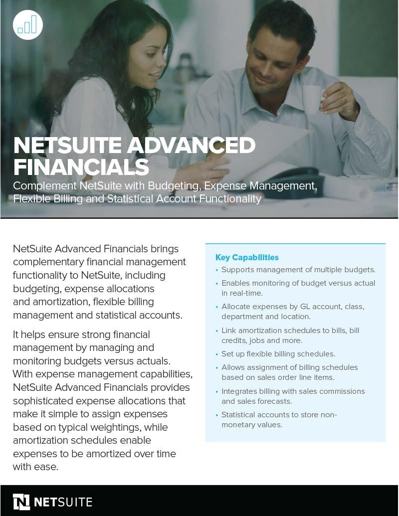 NetSuite Advanced Financials Flyer