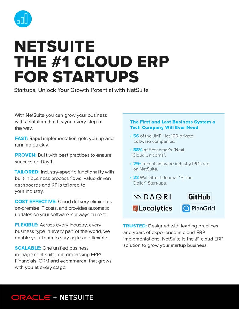 NetSuite - No 1 ERP for Startups
