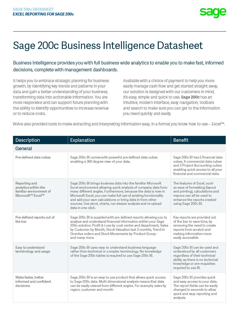Sage 200c Business Intelligence Reporting in Sage 200