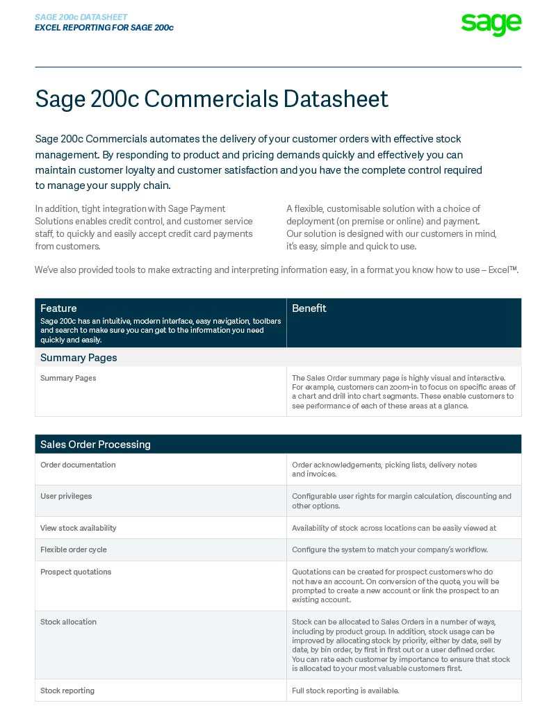 Sage 200c Comercials Module Datasheet