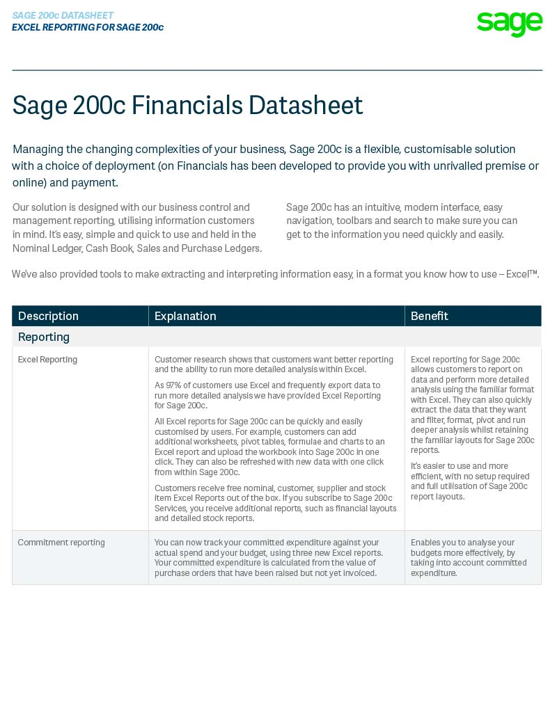 Sage 200c Financials Module Datasheet