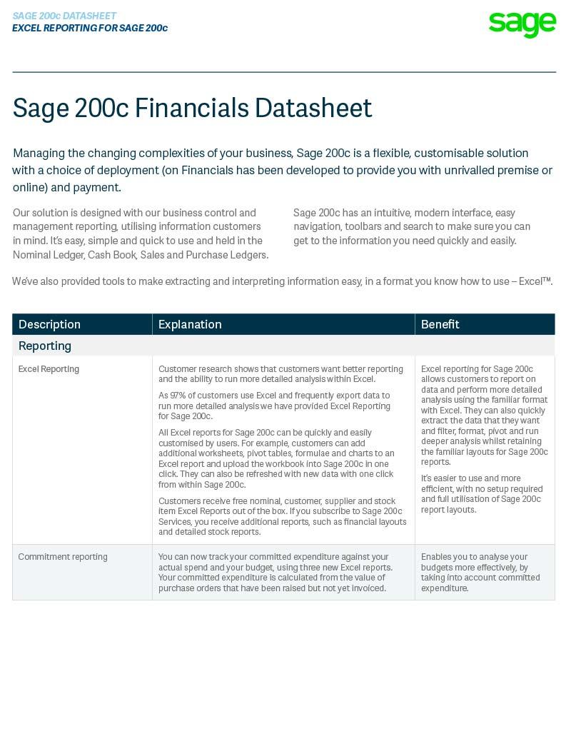 Sage 200c Financials Module Datasheet