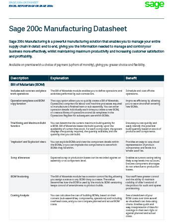 Sage 200c Manufacturing